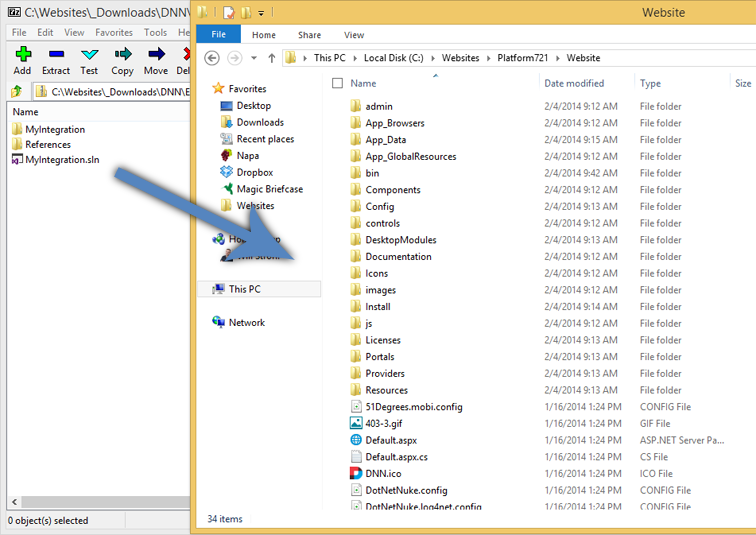 Drag and drop files from the zip to your website folder