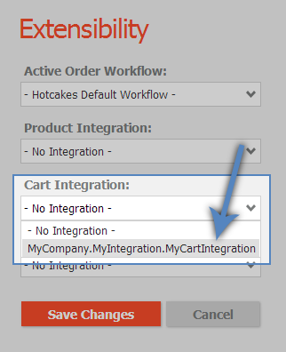Choosing a custom integration in the Admin > Extensibility view