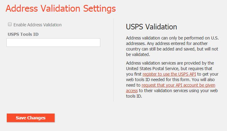 Hotcakes: Address Validation settings