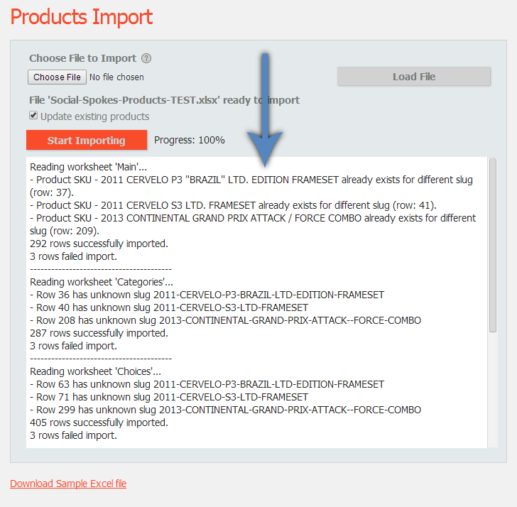 A view of the message panel during the import process