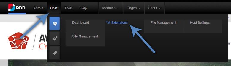 Host Menu: Extensions