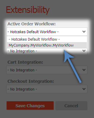 Choose your workflow in the Extensibility admin view