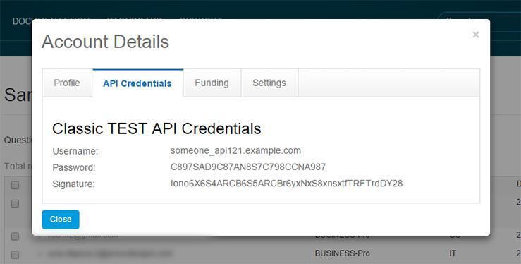 PayPal Express API Credentials