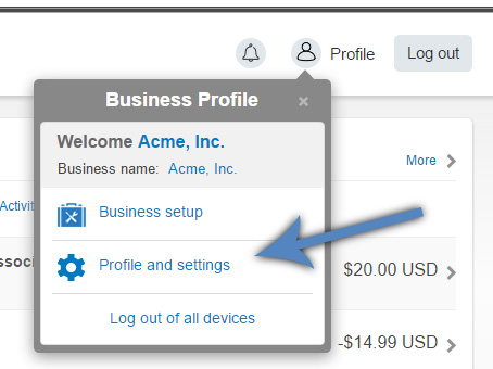 PayPal Profile and Settings