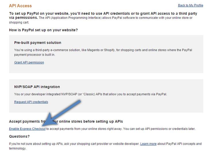 PayPal Enable Express Checkout