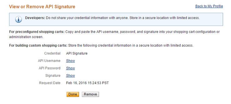 View API Signature