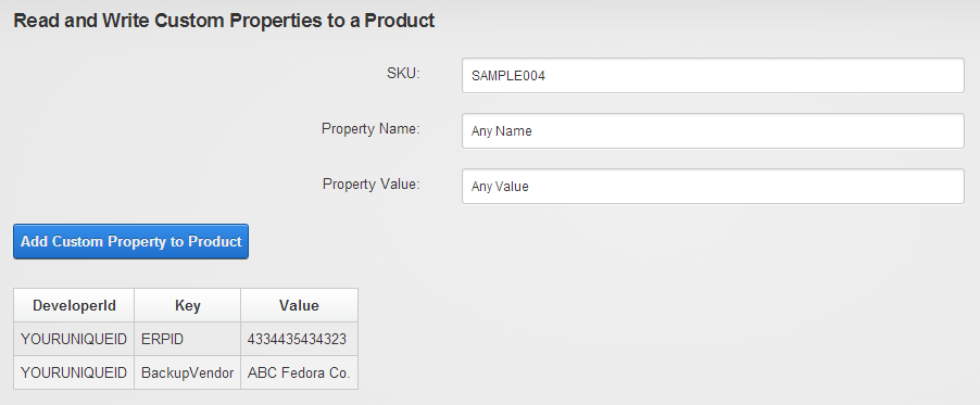 A custom property key/value pair gets saved and displayed