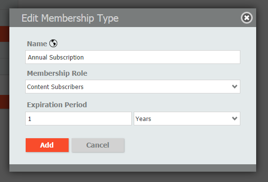 Enter membership product type details and save them