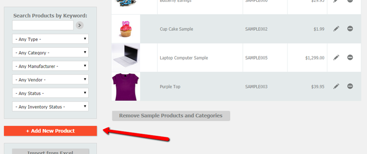 Click the Add New Product button