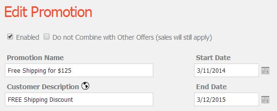 Edit the Promotion Details