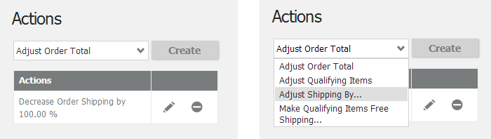 Free Shipping Action and other Actions options you can select from