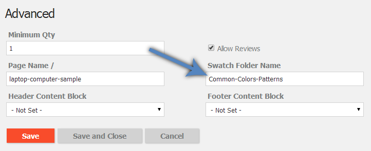 Add swatch folder name