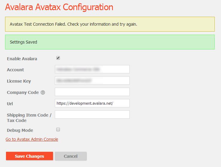 Failed to connect to Avalara Avatax