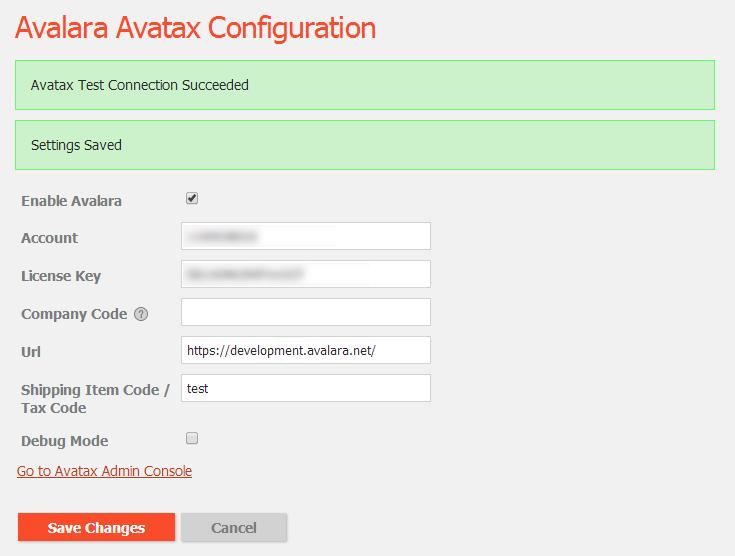 Successful connection to Avalara Avatax
